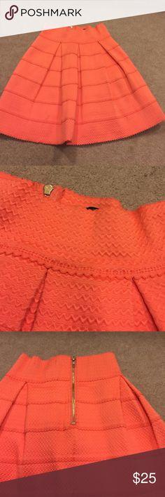 """Orange Tiered Skirt Back zipper. 100% polyester. 17"""" long. Honey Punch Skirts"""