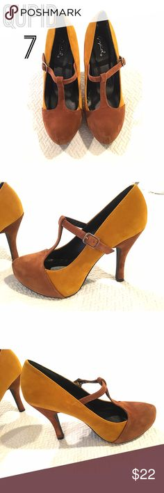 💋QUPID MUSTARD/BROWN PUMPS💋 This color combo is beautiful!! Size 7 mustard and brown synthetic suede. Adjustable strap. NEVER WORN! Qupid Shoes Heels
