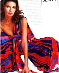 Racquel Welch in Vogue 1972, outfit by Leonard