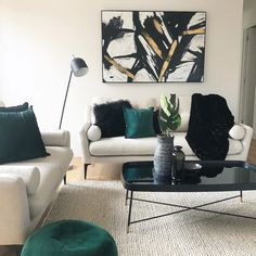 A splash of Green to compliment our Iris seater. Interior S, Interior Design, Bold Colors, Colours, Neutral Palette, Furniture Design, House Design, Couch, Lounges