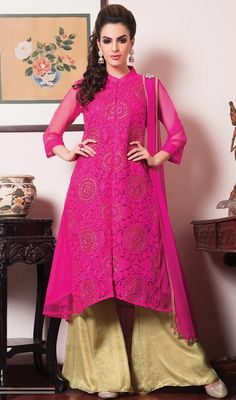 Authentic beauty can come out from your dressing style and design with this pink embroidered net palazzo suit. The interesting floral patch, lace and resham work a substantial feature of this attire. #FushiaReshamEmbroideredPinkPalazzoSuit