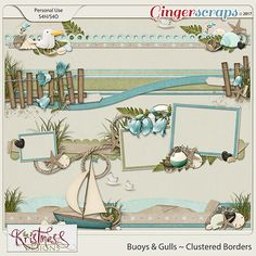 These super clustered borders were made as part of my Buoys & Gulls Collection. Beach Scrapbook Layouts, Cruise Scrapbook, Scrapbook Borders, Wedding Scrapbook, Scrapbook Embellishments, Disney Scrapbook, Scrapbook Sketches, Baby Scrapbook, Travel Scrapbook