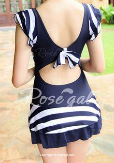 Romantic Striped Flounce Bowknot One-Piece Swimsuit For Women Swimwear | RoseGal.com Mobile