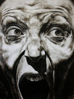 "https://www.facebook.com/claralieu/ Clara Lieu, Self-Portrait No. 2, etching ink and lithographic crayon on Dura-Lar, 48"" x 36"", 2012"