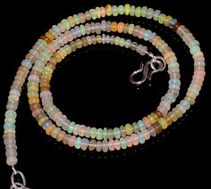 "40CRTS 3.5to4MM 18"" ETHIOPIAN OPAL RONDELLE BEAUTIFUL BEADS NECKLACE OBI3025 #OPALBEADSINDIA"