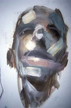 painting by antony micallef: The distortion of the portrait created by using…