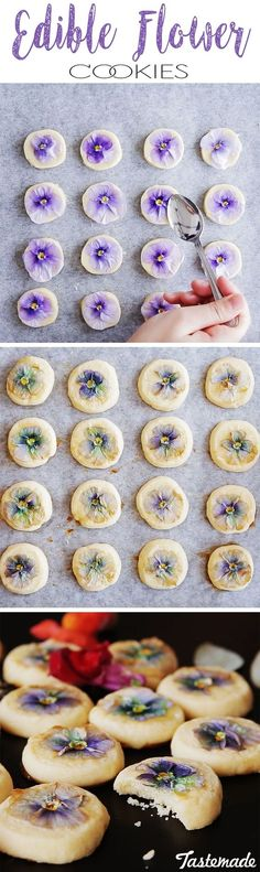 edible flower cookies are so pretty your guest won't know whether to eat them or stash them in their pockets ;)These edible flower cookies are so pretty your guest won't know whether to eat them or stash them in their pockets ; Dessert Party, Tea Party Desserts, Spring Desserts, Cookie Recipes, Dessert Recipes, Cookie Ideas, Tea Recipes, Flower Food, Flower Tea