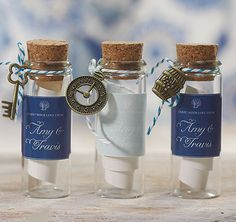 Mini Clear Glass Bottle with Cork - fun favor for a beach wedding!