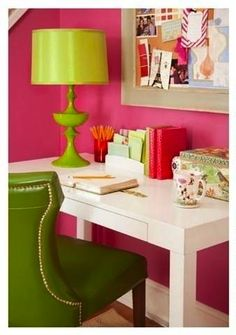 Pink and green home office desk area. Decor, Home Decor Styles, Home Goods, Pink Home Offices, Interior, Home, Pink Office, Interior Design, Home Office Space