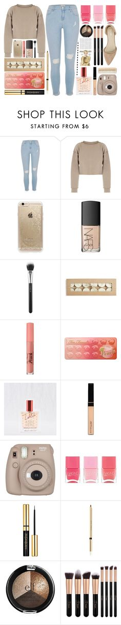 """With a kick of sweet peach❣️"" by itsfashioninfinity ❤ liked on Polyvore featuring River Island, My Mum Made It, Rifle Paper Co, NARS Cosmetics, MAC Cosmetics, Too Faced Cosmetics, Aerie, Maybelline, Fujifilm and Nails Inc."