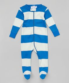 Loving this Deep Blue Stripe Organic Footie - Infant on #zulily! #zulilyfinds