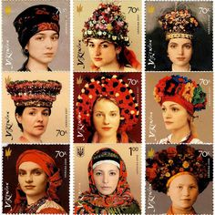 Fashion: the headdresses of ukrainian women. The images on poststamps of 2006-2008