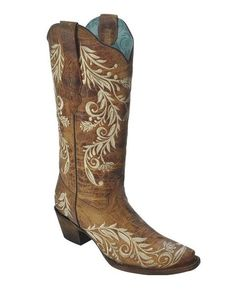 Corral Women's Antique Saddle Sand Side Embroidered Cowgirl Boots - A3072