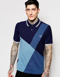 84ce0976 Fred Perry Polo Shirt with Colour Block Panel Slim Fit at asos.com
