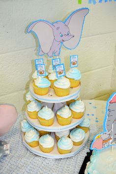 DIY Dumbo Baby Shower- could put a little peanut on top of each cupcake (maybe a circus peanut?)