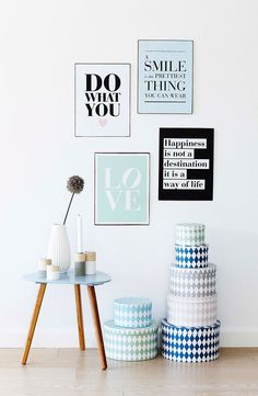 Søstrene Grene, table, boxes and quote posters. Perfect for a spring feeling at home! Nordic Home, Scandinavian Home, Interior And Exterior, Interior Design, Wall Decor, Room Decor, Home Bedroom, Decoration, Home And Living