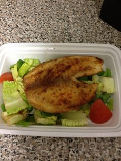 Day 5 (breakfast): baked tilapia with left over salad from last nights dinner