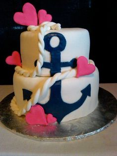Navy Anchor and Pink Hearts Bridal Shower Cake! A bigger version without the pink hearts would be cool for a wedding cake!