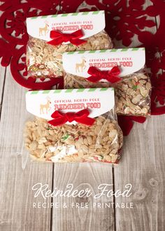 Reindeer food recipe and free printable reindeer food tag in a 15 minute quick and easy craft with Craft Lightning!