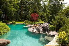 Natural Stone Swimming Pool with Waterfall