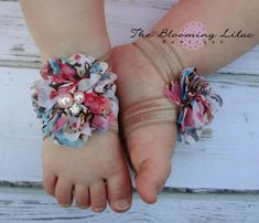 Floral Baby Barefoot Sandals with Beige Elastic- Newborn Sandals - Baby Clothing - Newborn Clothing - Baby Girls - Photography Prop on Etsy, $6.50