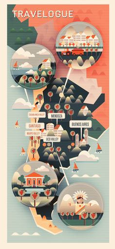 Crayonfire/Neil Stevens - Chile / Argentina Map. From a set of maps created for Majestic Wines.