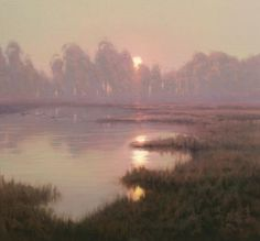 Kevin Courter morning Whispers Oil on Canvas 16 x 17 in ----------