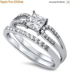 1.40 Carat Princess Cut & Round Russian Diamond CZ Crystal 925 Sterling Silver Wedding Engagement Bridal Set Ring Matching Band