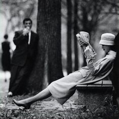 Model on a park bench in Central Park, NY, 1956. Photo by Yale Joel. via theniftyfifties (1) Tumblr