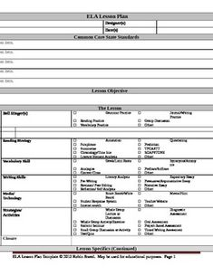 Eighth Grade Common Core Aligned Lesson Plan Templates From