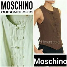 🎉SALE🎉Designer Short Fitted Cream Vest Gorgeous and sexy, it can be worn alone or layered. Frog buttons and two interior snaps keep it together. 52% rayon, 48% acetate. Lining is 100% rayon. Made in Italy. Smoke/pet-free home. Fast Shipping   💞Thanks for checking out my closet!💞 Moschino Tops