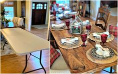 DIY Wood Folding Table Topper - From Plastic Folding Table to Beautiful Wood Table Pop Up, Wood Folding Table, Folding Desk, Plastic Tables, Diy Holz, Table Toppers, Diy Furniture, Furniture Projects, Furniture Plans