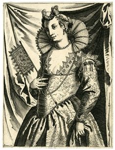 An elegantly dressed woman holding a fan. c.1609 Engraving