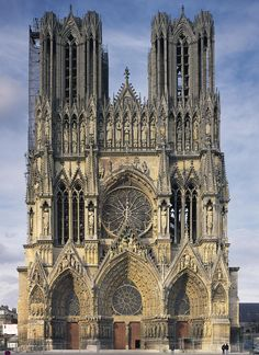 The monumental 81 metre tall façade of Reims Cathedral, France, constructed in…