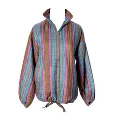 Yves Saint Laurent Rive Gauche Jacket Silk Striped Zip Front Vintage YSL France   From a collection of rare vintage jackets at https://www.1stdibs.com/fashion/clothing/jackets/