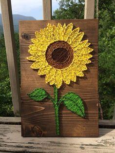 Bright sunflower string art (flower, nail, thread) - Order from KiwiStrings on Etsy! (www.KiwiStrings.etsy.com)