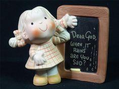 "Vintage Enesco Dear God Kids Figurine ""Dear God, When it Rains Are You Sad"" 1982"