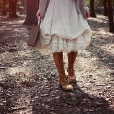 (mori girl) long skirts with boots ruffles and lace romantic#Repin By:Pinterest++ for iPad#