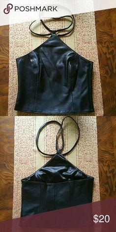 Hugo Buscati Collection Size 4 soft leather halter top. Black. NWOT Hugo Buscati  Tops Tank Tops