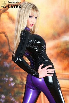 Black and violet latex catsuit