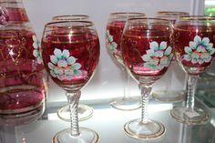 Skleničky na víno * rubínové ručně malované sklo.