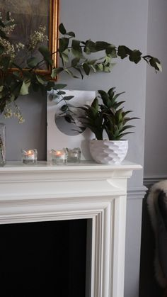 Good Snap Shots White Fireplace grey walls Concepts Remember when I was hemming and hawing about whether to paint our fireplace white? Well, one night I Christmas Fireplace Mantels, Grey Fireplace, Fireplace Design, Wood Paneling Decor, Blue Grey Walls, White Mantel, Dining Room Office, Dado Rail, Classic Living Room