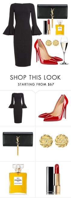 """""""New Years Eve"""" by cdsommer ❤ liked on Polyvore featuring Michael Kors, Christian Louboutin, Yves Saint Laurent, Chanel and Riedel"""