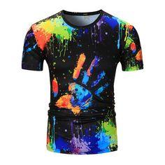 Crew Neck Colorful Splatter Paint Handprint Print T-Shirt - Xl Mobile