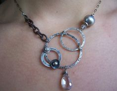 Items similar to Circle Necklace, Geometric Jewelry, Mixed Metals Jewelry, Asymmetrical Necklace, Organic Industrial Jewelry. on Etsy Diamond Initial Necklace, Pearl Statement Necklace, Wire Necklace, Pendant Necklace, Mixed Metal Jewelry, Wire Jewelry, Silver Jewelry, Jewelry Necklaces, Silver Beads