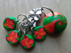New 100Creations Etsy item: Knitting Stitch Marker Accessories Gift for Her Women Knitter Tools Notions Knit No Snag Row Round Flower Polymer Clay Beads Supplies Holder