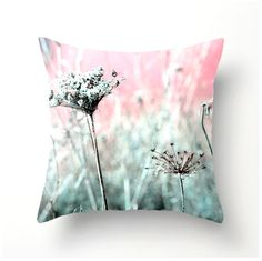 Decorative Throw Pillow Pink and Aqua Queen Anne's Lace - accent pillow pillow sham, cushion cover, pillow cover, bedding, spring decor