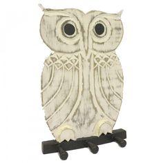 Dochsa Wooden Coat Hanger - Owl Whitewash https://dochsa.com