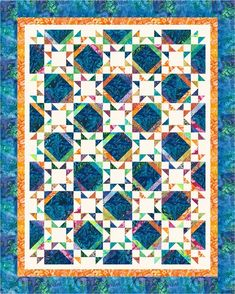 Tropics designed by Cozy Quilt Designs. Features #ArtisanBatiks Totally Tropical by Lunn Studios, shipping to stores November 2015. Roll-up friendly!