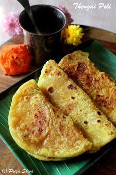 Thengai Poli / Coconut Puran Poli   Make delicious puran poli with coconut, jaggery and a hint of cardamom! @PriyaShiva